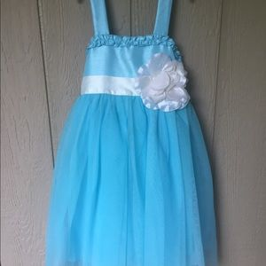 Pinky Teal Tulle Party Dress Flower Girls Size 6